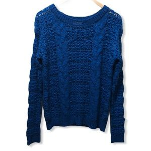 {UO Pins&Needles} Fuzzy Cable Knit Pullover